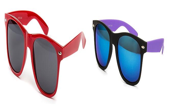 2 er Set Partybrille Sonnenbrille Brille Schwarz Matt Gummiert + 2 Farbig Rot NErd Pokubw