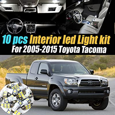 10Pc Super White 6000K Interior LED Light Bulb Kit Pack Compatible for 2005-2015 Toyota Tacoma: Automotive
