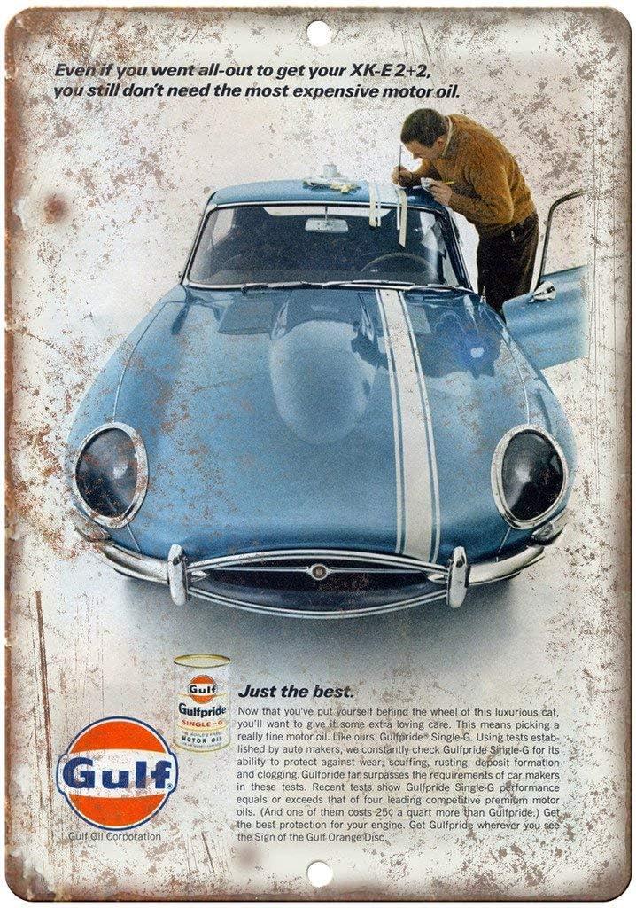 Shunry Gulf Oil Gulfpride Motor Oil Vintage Plaque Affiche /Étain M/étal Mur Signe R/étro D/écoration pour Bar Caf/é Garage Gaz Station Accueil Club