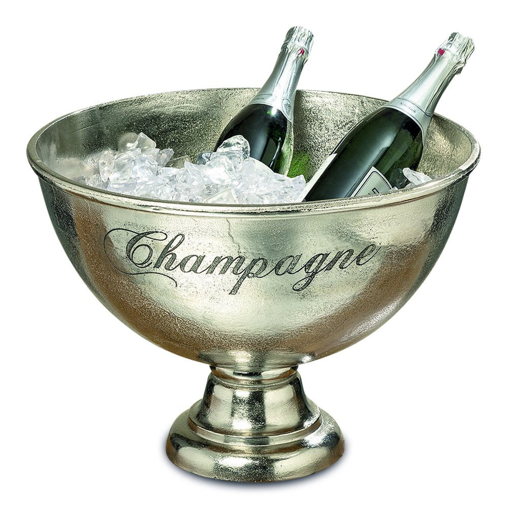 The Old World Luxury Champagne Bucket With Old World Panache, Elegant Script Text Details, Hand Cast of Silver Aluminum, Pedestal Base, Party Sized, 18 ½ Diameter, 13 1/2 Tall, By Whole House Worlds
