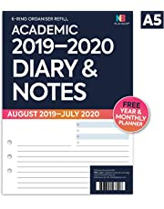 NBplanner® Academic 2019-2020 Organiser Refill Diary Planner Insert Filofax Compatible White (Diary & Notes)