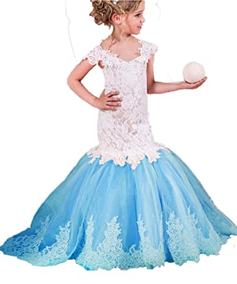 Amazon.com: Adela Lace Mermaid Vintage Flower Girls Dresses for ...