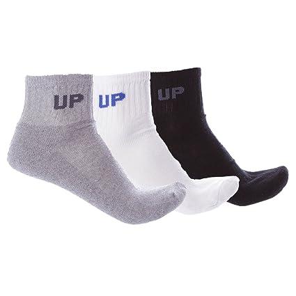 UP Calcetines Corto Blanco Negro Gris (Talla: M)