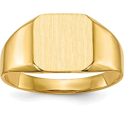 14k Yellow Gold Mens Signet Ring Jewelry Size 10 Amazon Com