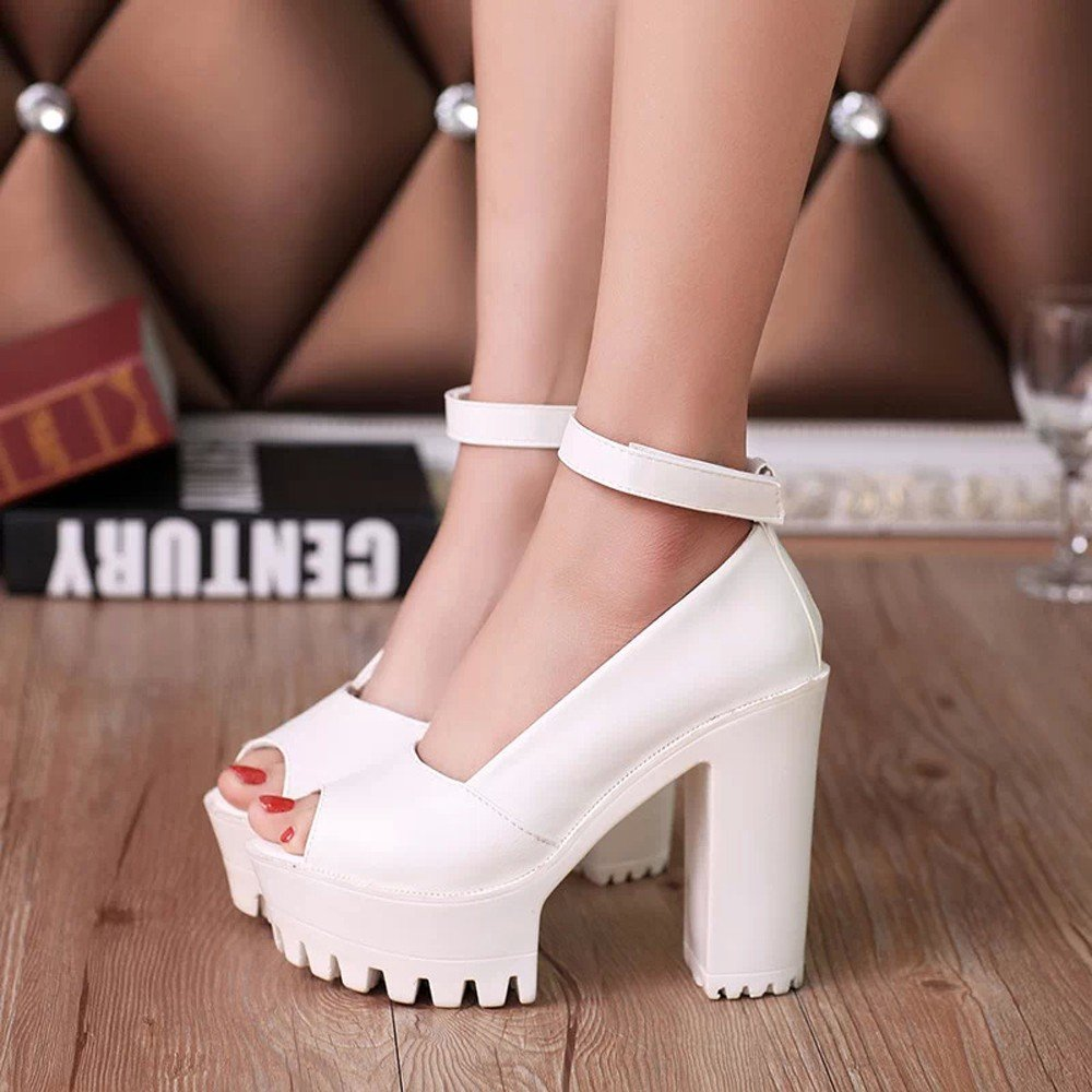 Shoes For Womens -Clearance Sale ,Farjing Fashion Women Peep Toe Platforms High Heels Sandals Buckle Slope Leisure Shoes(US:5,White) by Farjing (Image #3)