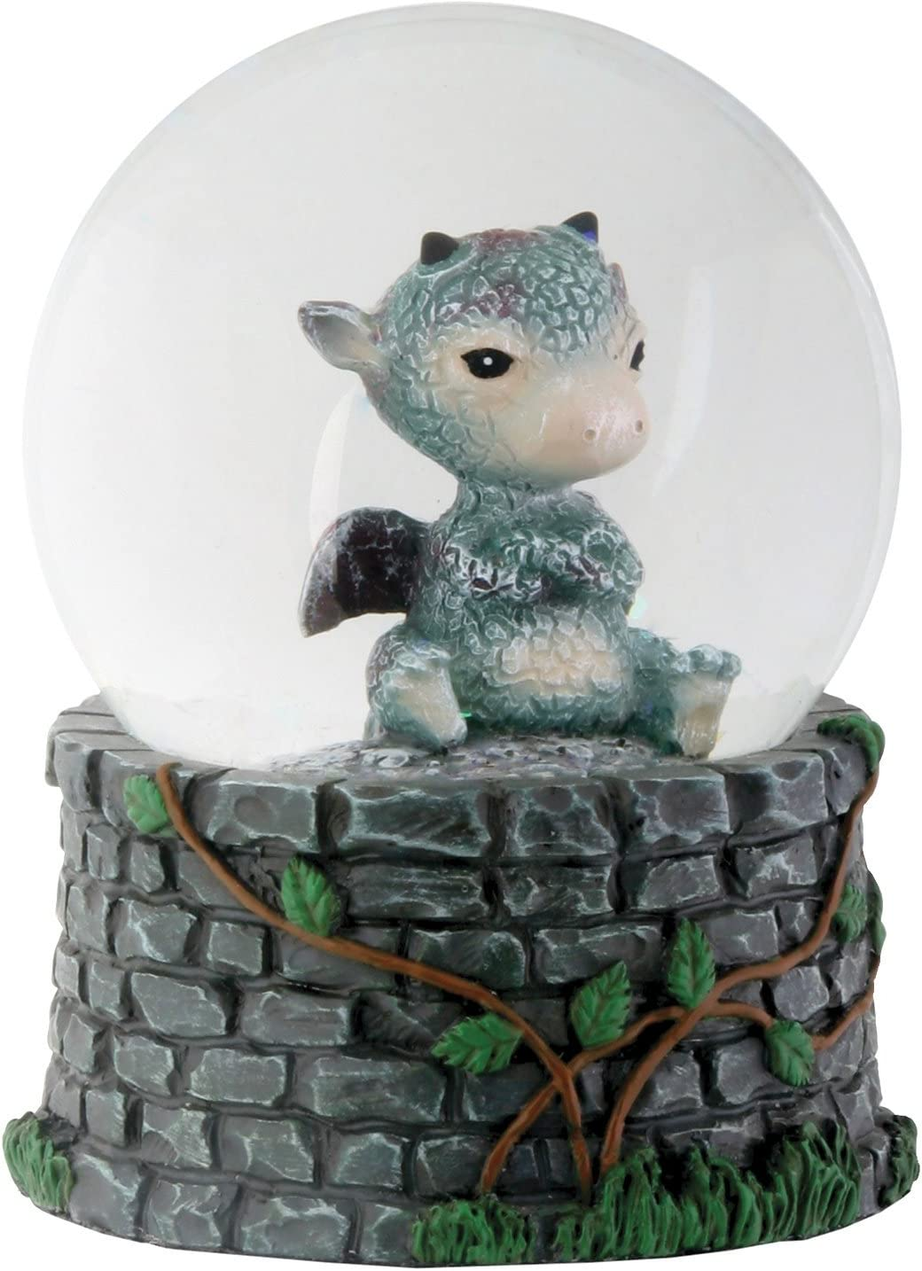 YTC 3.5 Inch Cold Cast Resin Sulky Baby Dragon Water Snow Globe Figurine