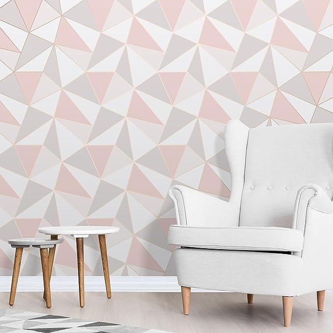 Apex Geometric Wallpaper Rose Gold Fine Decor FD41993 - - Amazon.com