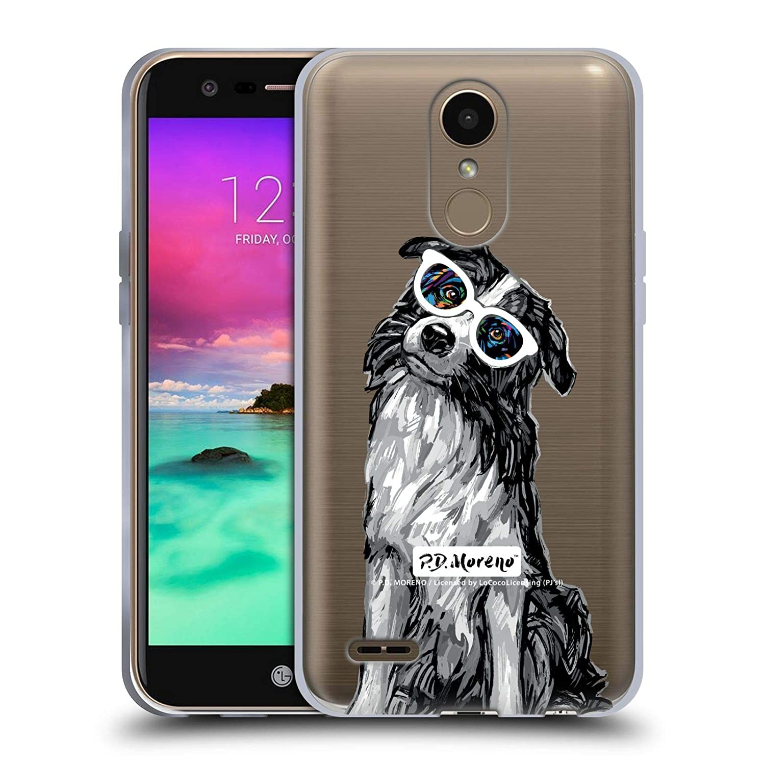 Official P.D. Moreno Border Collie Black and White Dogs Soft Gel Case Compatible for LG K10 (2017) / K20 Plus