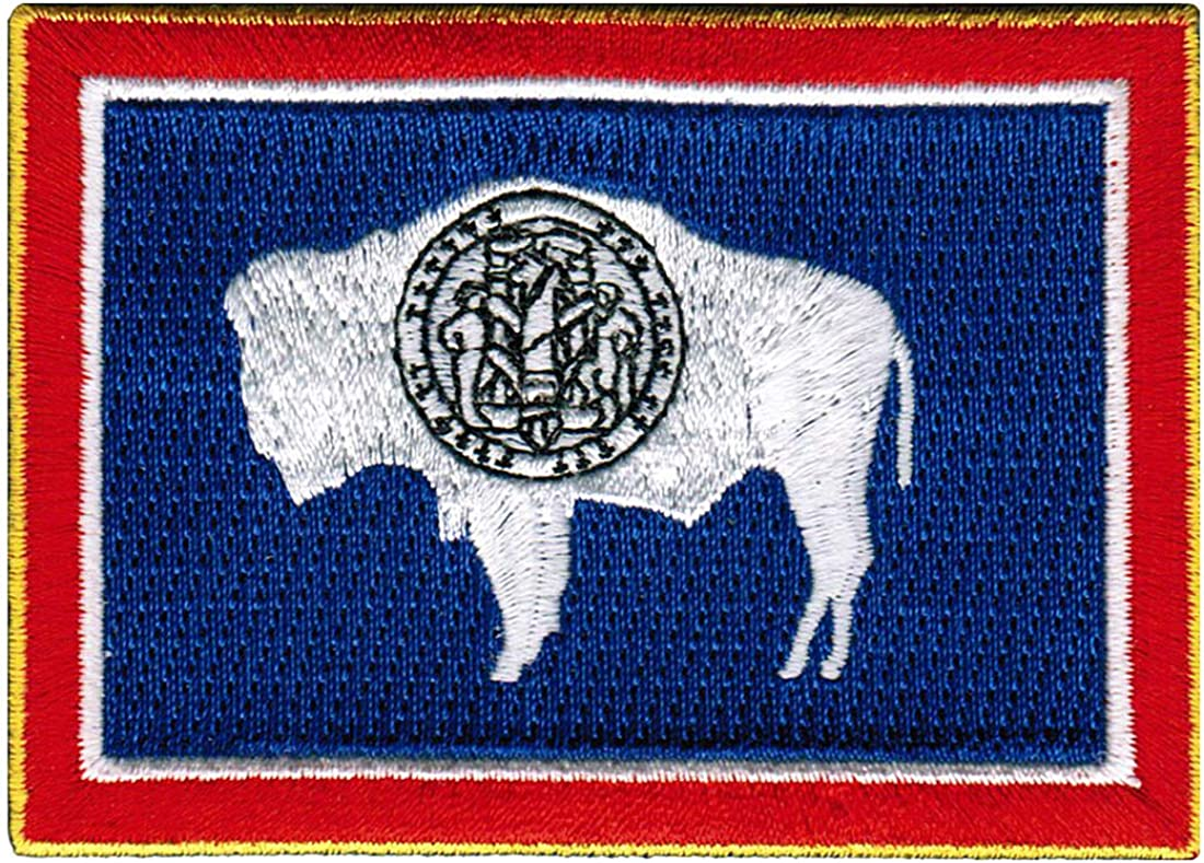 Flag patch printed badge country usa united states american wyoming