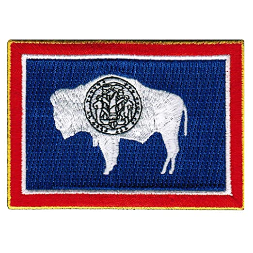 Wyoming State Flag Embroidered Patch Iron On Wy Emblem At Amazon