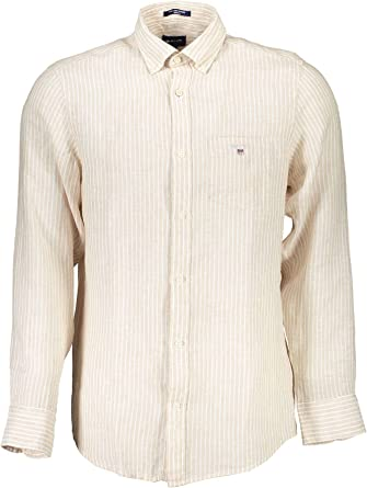 Gant 3007220-468 The Linen Banker Shirt Regular Fit Button Down Camisa 100% lino rayado celeste (Capri Blue)