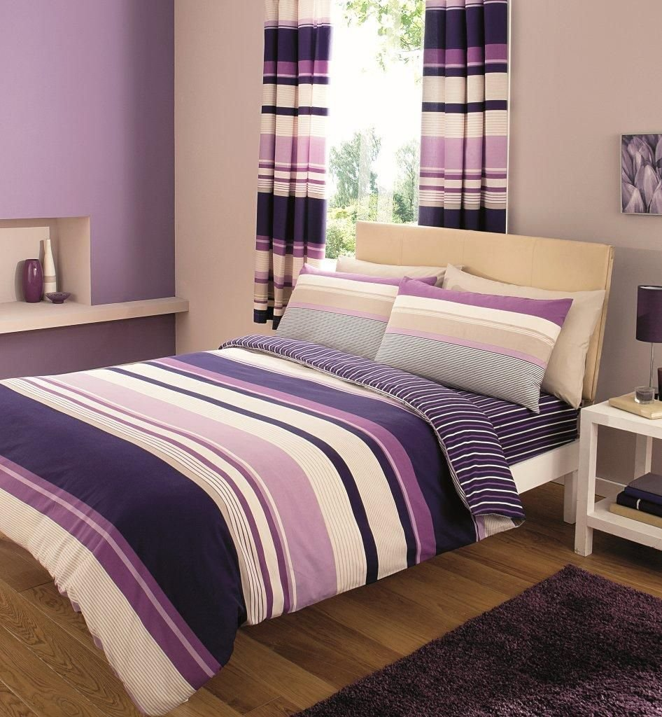 8 Piece King Size Duvet Cover Set Including Curtains C S Purple