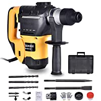 CATINBOW 1-1/4 inch Sds-Plus Rotary Hammer Drill for Concrete, 13Amp, 3 Functions 4700bpm Heavy Duty Demolition Hammer with Vibration Control Including Grease, Safety Clutch, Chisels, Drill Bits