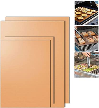 Rokoo Tapis de barbecue, 4 Pcs Chef Grill Bake Mats BBQ Pad