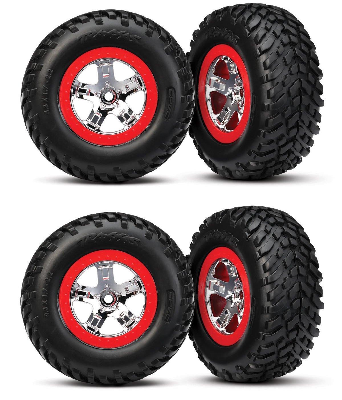 Traxxas Slash 58034-2 2wd Tires & 12mm Red Split Spoke Wheels/Fit Raptor