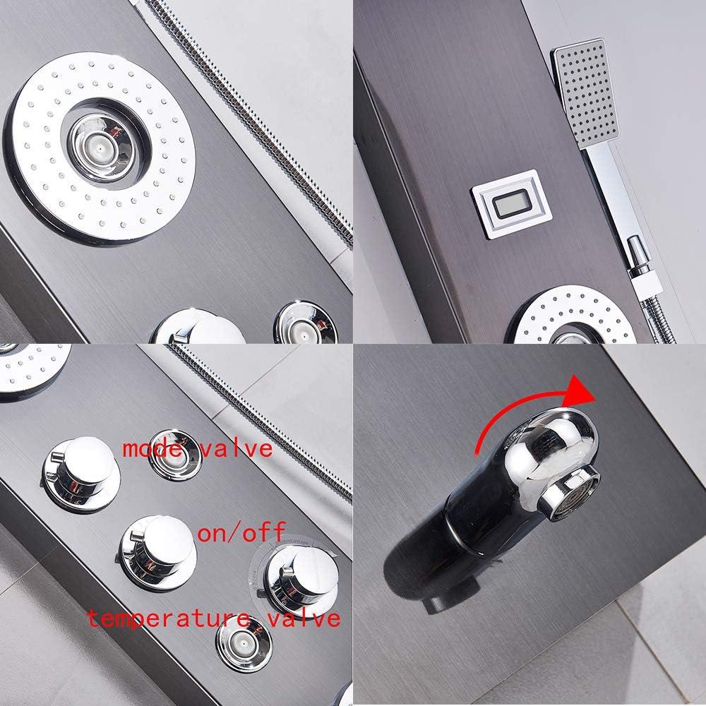 Rozin Huile en acier inoxydable pour plaque de douche avec affichage de la temp/érature /à LED et d/étecteur de mouvement en bronze Fixation murale