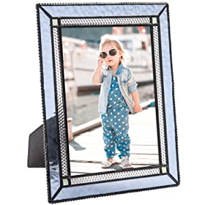 5x7 Blue Picture Frame Family Photo Gifts for Her Baby Women Vintage Stained Glass Home Decor Vertical Horizontal Easel Table Top J Devlin Pic 418 Series (5x7)