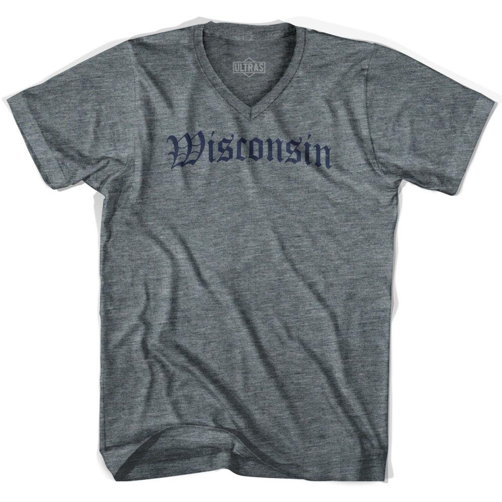 Wisconsin Old Town Font V-neck T-shirt