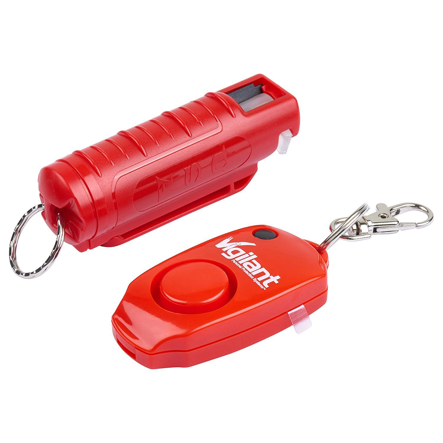 Vigilant Brand Pepper Spray and Vigilant 130dB Personal Alarm MVP Protection Package (MVP Bundle Kit) (Red Pepper Spray with Red Alarm)