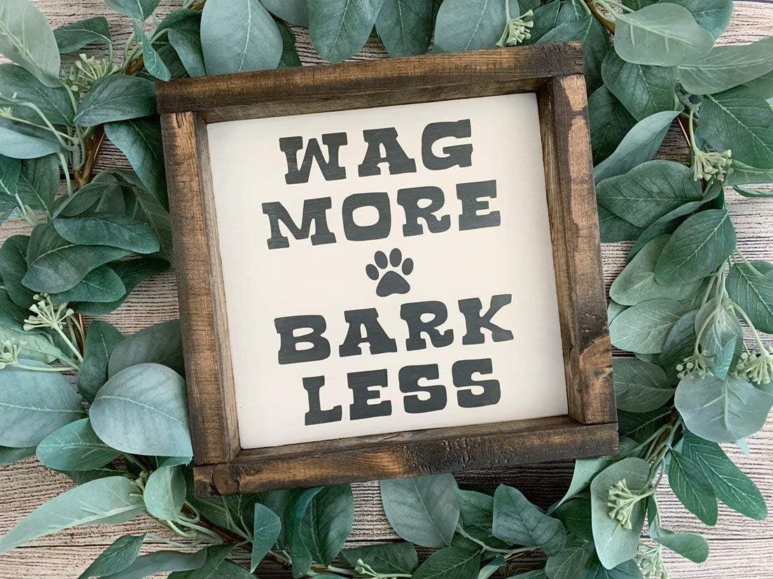 EricauBird Wood Sign-Wag More Bark Less Wood Sign Dog Lover Dog Sign Fur Mom Fur Dad Dog Saying Dog Family, Home Wall Art, 12x12