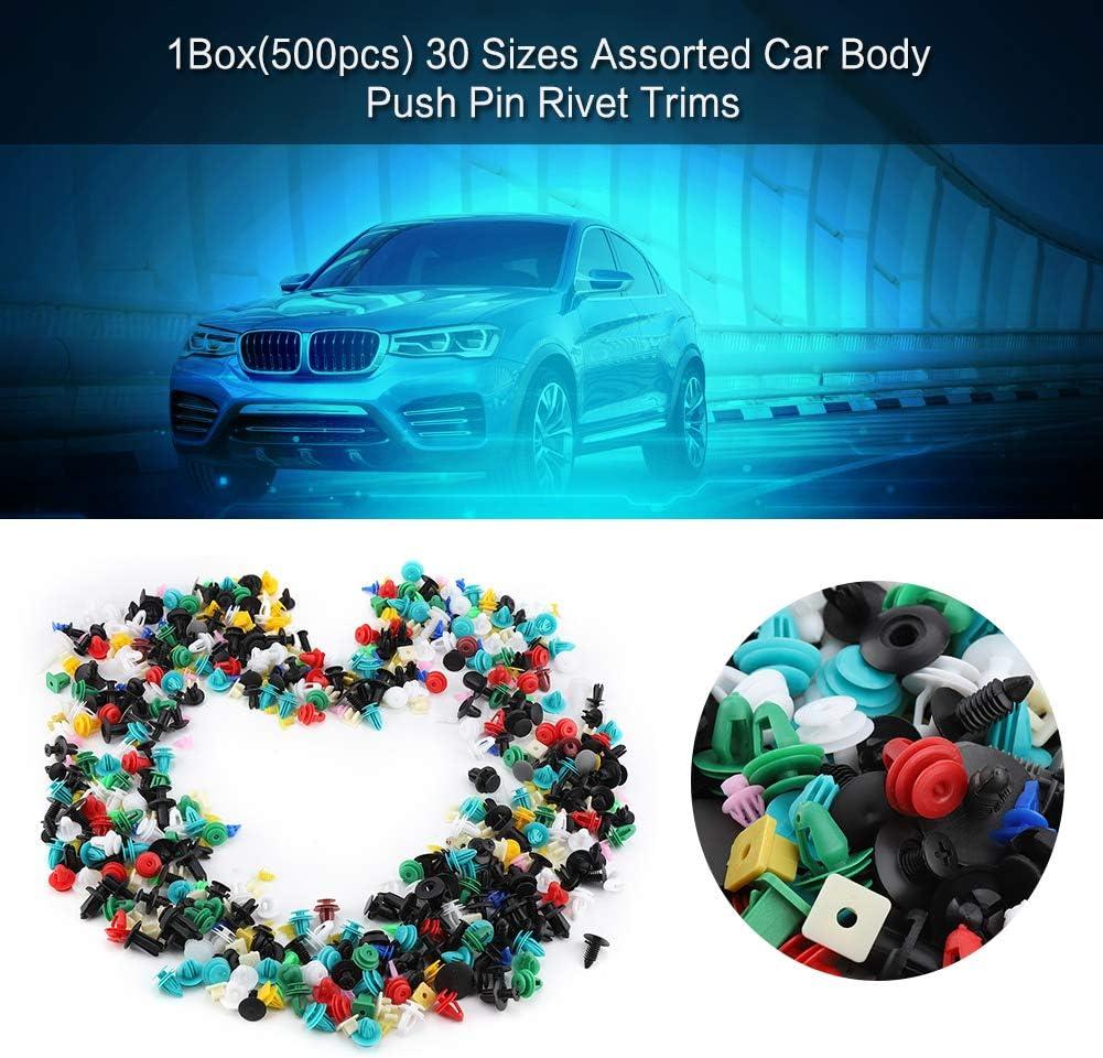 30 dimensioni Assortiti in plastica per portiera auto Clip per paraurti Fastener Fermo rivetto Push Pin Kit Elerose 500Pcs