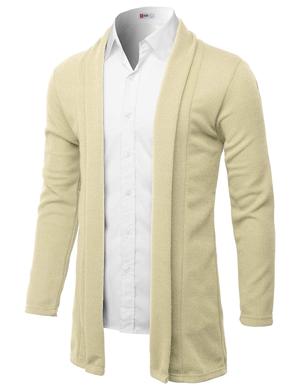 H2H Mens Fashion Slim Fit Open Front Long Sleeve Shawl Collar Pullover Cardigan #KMOCAL012