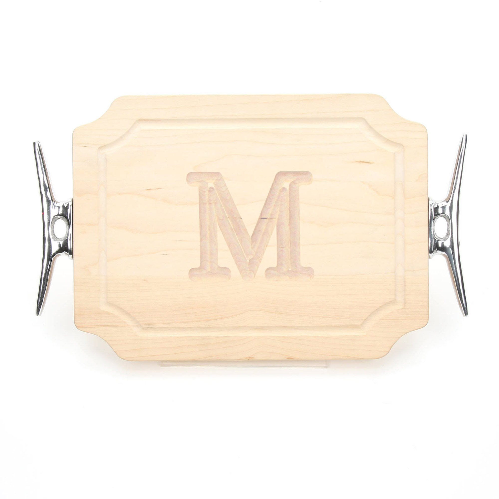 BigWood Boards 300-SCLT-M Bar/Cheese Board with Boat Cleat Cast Aluminum Handle with Scalloped Corners, 9-Inch by 12-Inch by 0.75-Inch, Monogrammed''M'', Maple