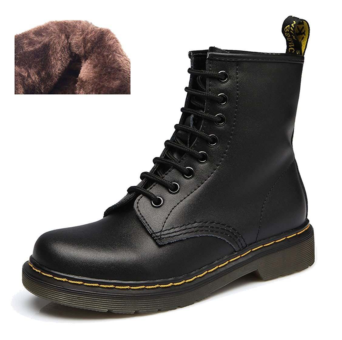 Modemoven Women's Round Toe Lase-up Ankle Boots Ladies Leather Combat B06XNNQ93Q Booties Fashion Martens Boots B06XNNQ93Q Combat 10 B(M) US|Black Fur Lined 9413fc