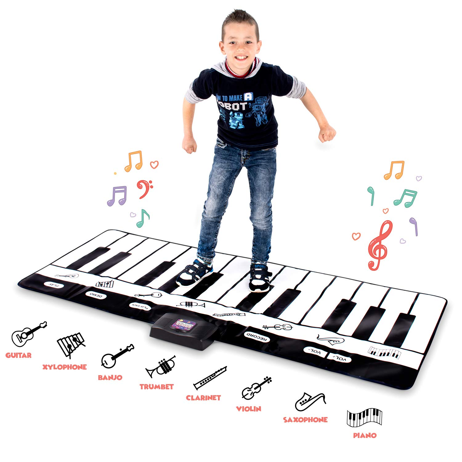 Abco Tech Giant Piano Mat - Jumbo Floor Keyboard with Play, Record, Playback and Demo Modes - 8 Different Musical Instruments Sound Options - 70in Play Mat - 24 Keys by Abco Tech