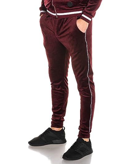 PROJECT X - Pantalon Jogging Bordeaux Velvet à liserés Homme - Couleur   Rouge - Taille 9bb8267fae2a