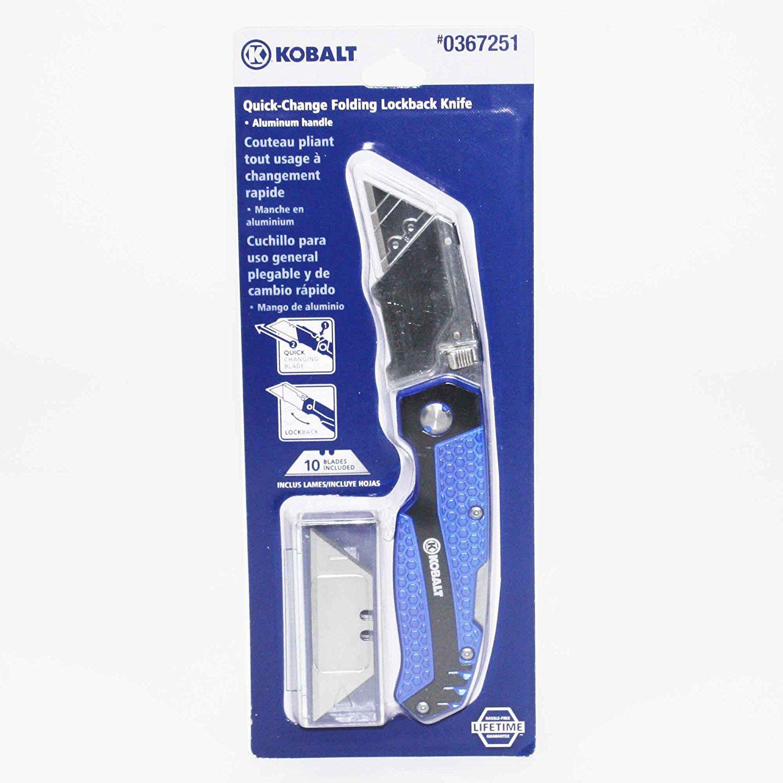 KOBALT UTILITY KNIFE & 11 BLADES, FOLDABLE SPEED RELEASE QUICK CHANGE BOX CUTTER 3 Pack by Kobaalt
