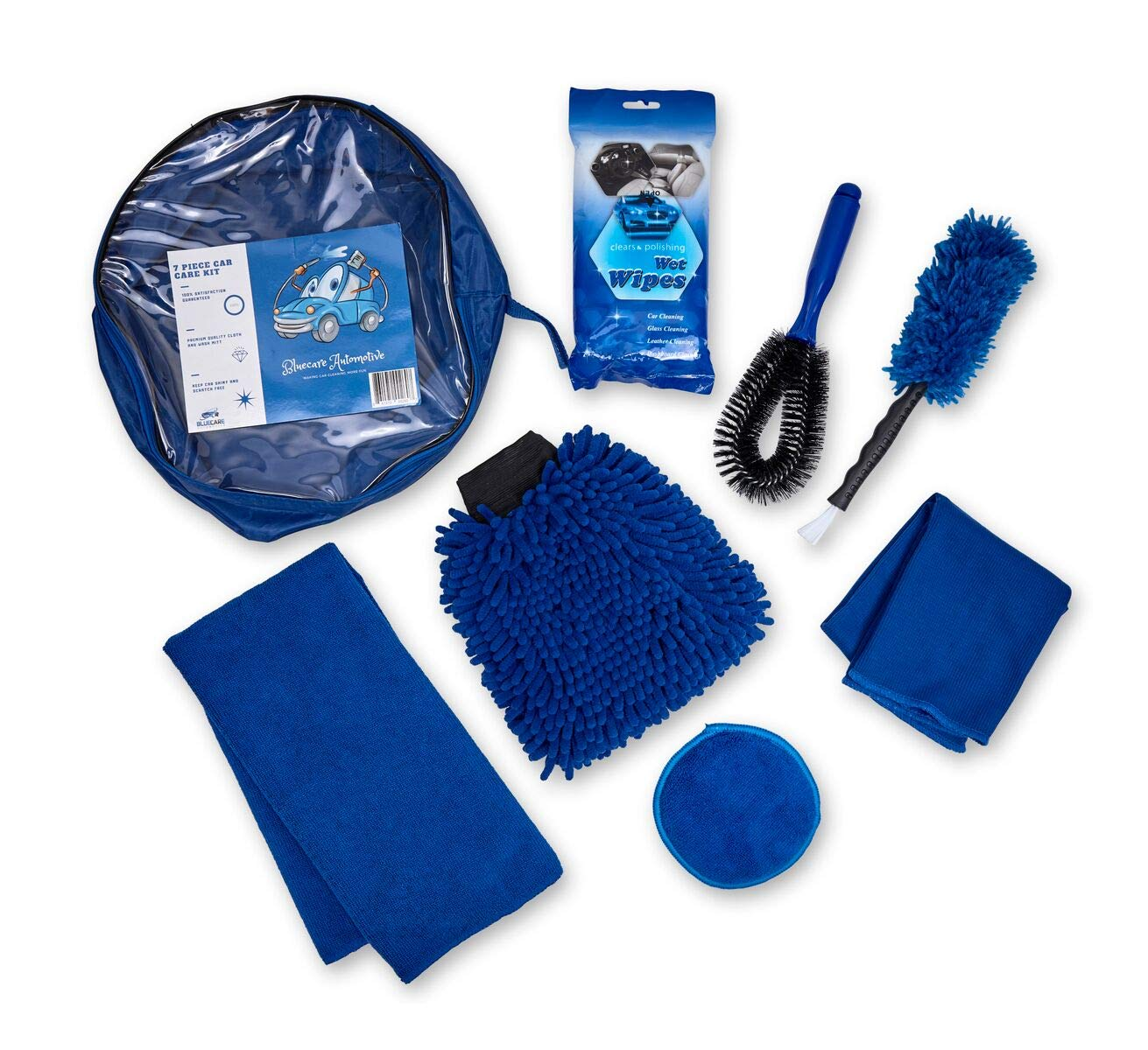BlueCare Automotive Car Cleaning Tool Kit with Portable Bag | 7 Piece | Wash Mitt | Car Vent Brush | Wash Sponge | Tire Brush | Wax Applicator | Microfiber Cloth with Free Car Wipes