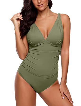 7c0a1ddc793 luvamia Women's One Piece Swimsuits Sexy V Neck Mesh Strappy Back Bathing  Suit Army Green Size