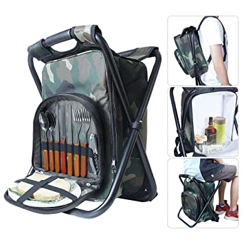 Hiking Backpack Folding Chair,HEPHEAS Multi Function Travel Backpack  Foldable Chair With Cooler Bag