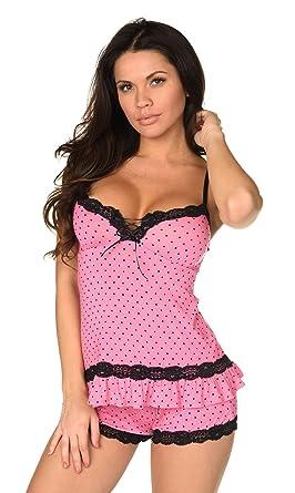 64afba83aae5 Velvet Kitten Sexy Hot Pink Lacey Date Night Short Set Polka Dot Cami Set  Women s Pajama