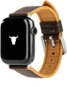 TORRO Leather Watch Strap Compatible with Apple Watch with Brushed Silver Connector and Buckle (Brown Silicone with Dark Brown Leather for 38mm / 40mm Apple Watch)
