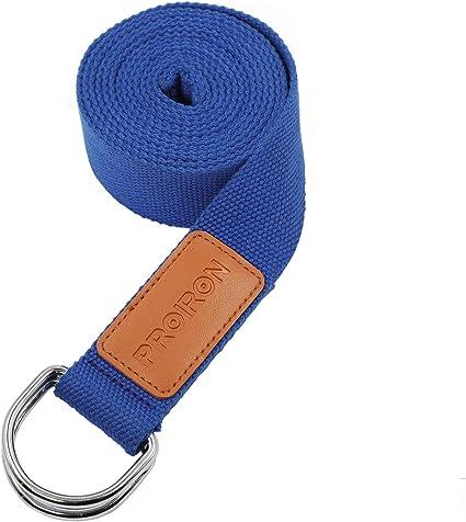 PROIRON Correas de Yoga Ajustable Cinturón para Estiramientos Algodon Correa para Ejercicios con Hebilla Metal D-Anillos 2mm Ultra Grueso: Amazon.es: Deportes y aire libre