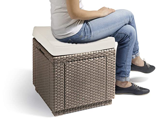 Cube Cushion Cappuccino/Sable ALLIBERT Tabouret 233817 42 x ...