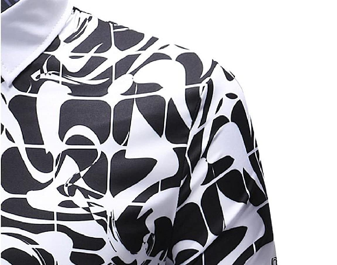 RSunshine Men Fashion Colorful Roll Sleeve Lapel Slim Fit Dress-Shirts
