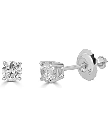 f087362ab AGS Certified 14K Gold Round-Cut Diamond Stud Earring (1/4 - 2