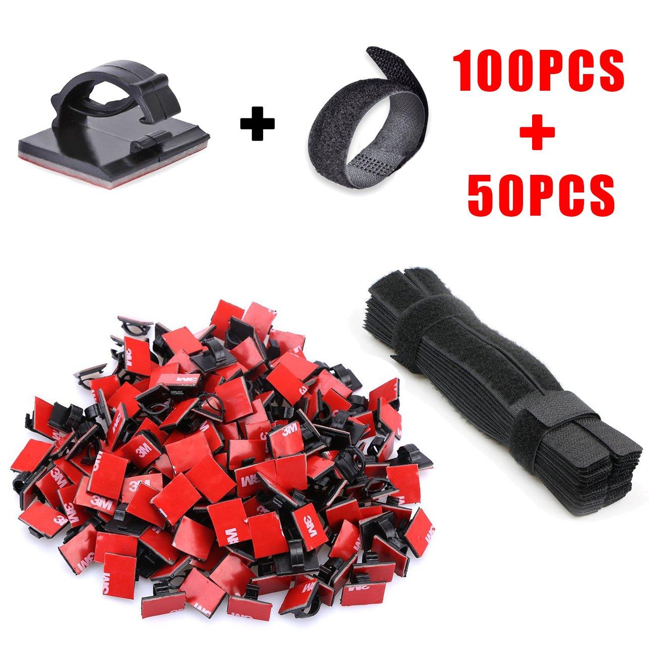 Cable Clips y Tiras de Velcro para Organizar Cables - Rantizon 100pcs Clips  de Cable Autoadhesivos 913f8255adce