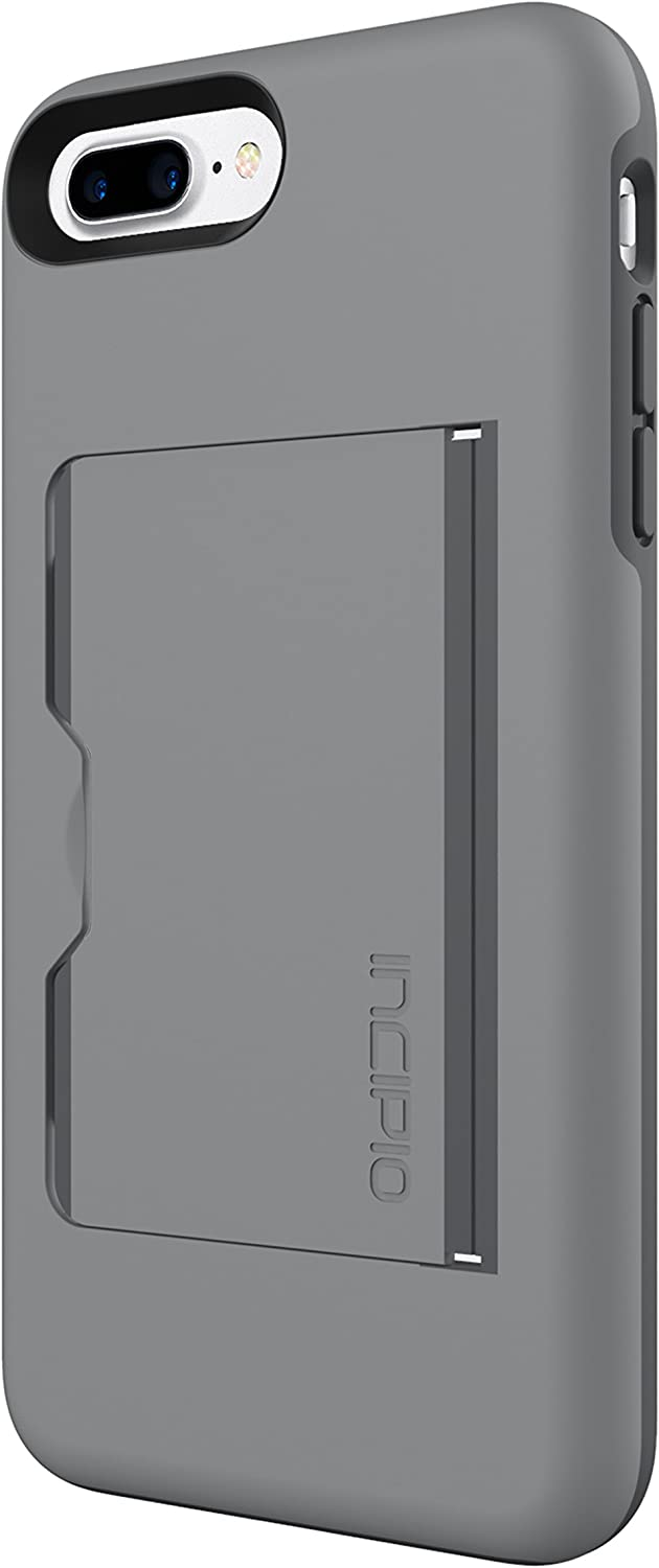 Incipio Stowaway iPhone 8 Plus & iPhone 7 Plus Case with Credit Card Slot Holder and Integrated Stand for iPhone 8 Plus & iPhone 7 Plus - Gray/Charcoal