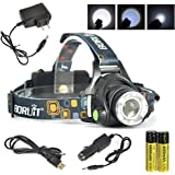Boruit 3 Modes T6 Rechargeable Super Bright Waterproof & Zoomable Headlamp fit for Skiing, Camping, Running, Hiking