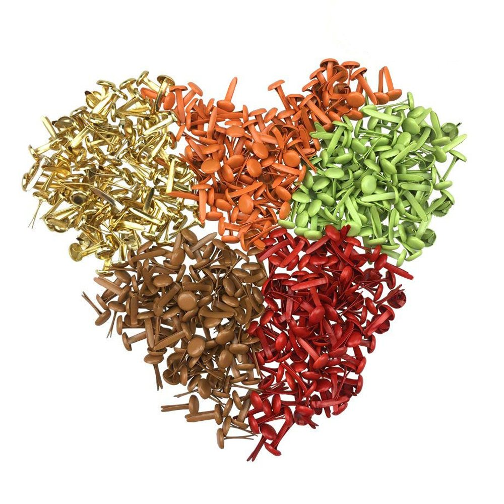 Mixed Color Mini Craft Round Brads for DIY Paper Scrapbooking Embellishment Pack of 500pcs by ZXSWEET