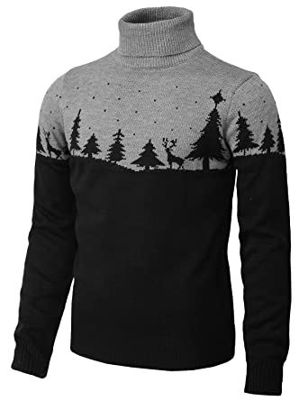 297fa88d2dcad3 H2H Mens Fashion Crewneck Two Tone Color Block Christmas Pullover Sweater  Black US S/Asia