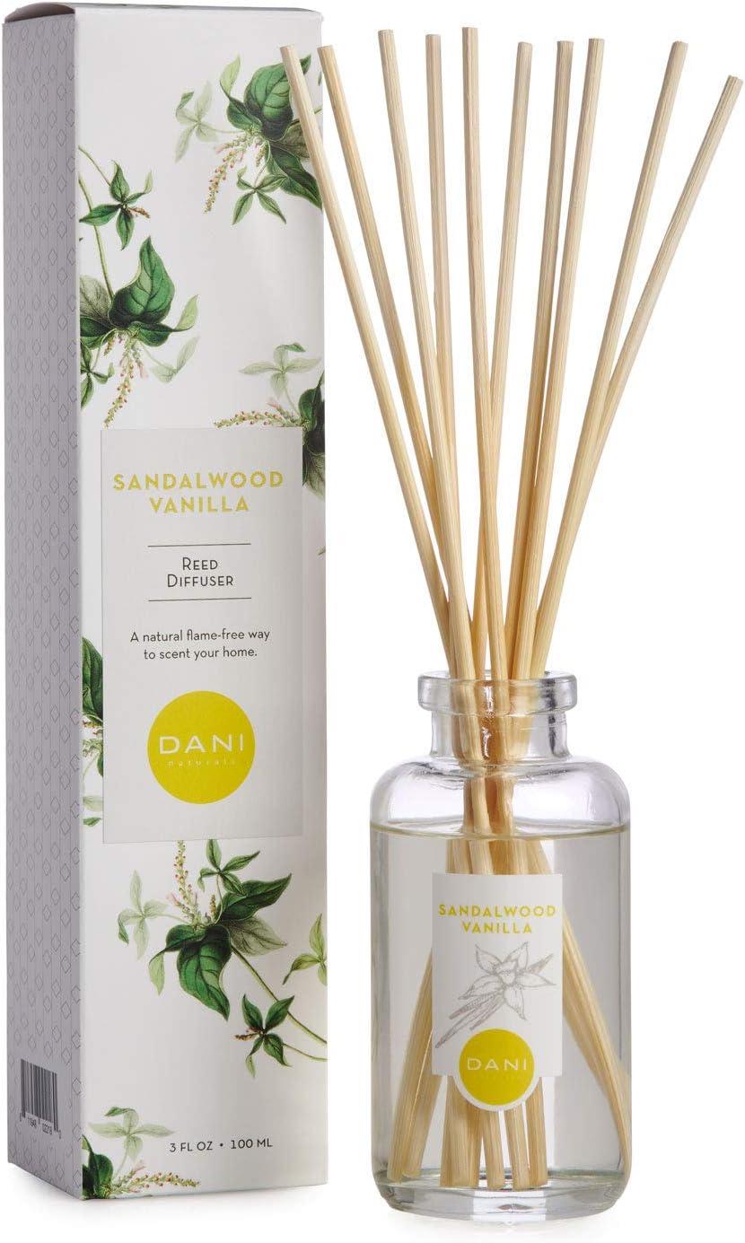 DANI Naturals Reed Diffuser, Sandalwood Vanilla, Clear