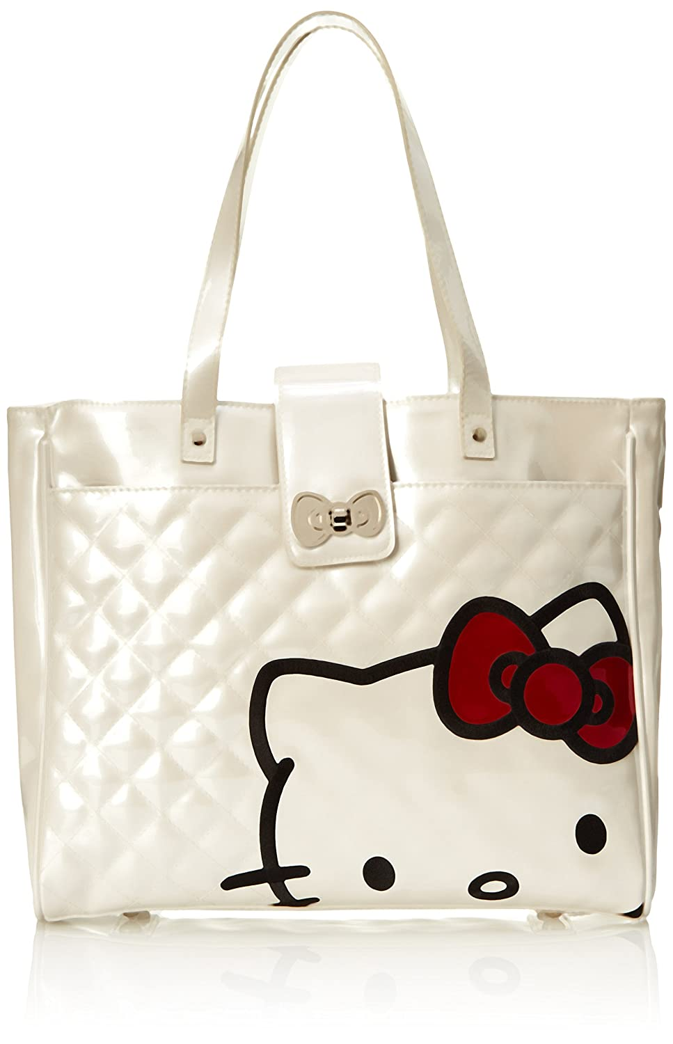 41700ca1ba Amazon.com  Hello Kitty Women s Hk W Red Bow Face On Wht Quilted Tote