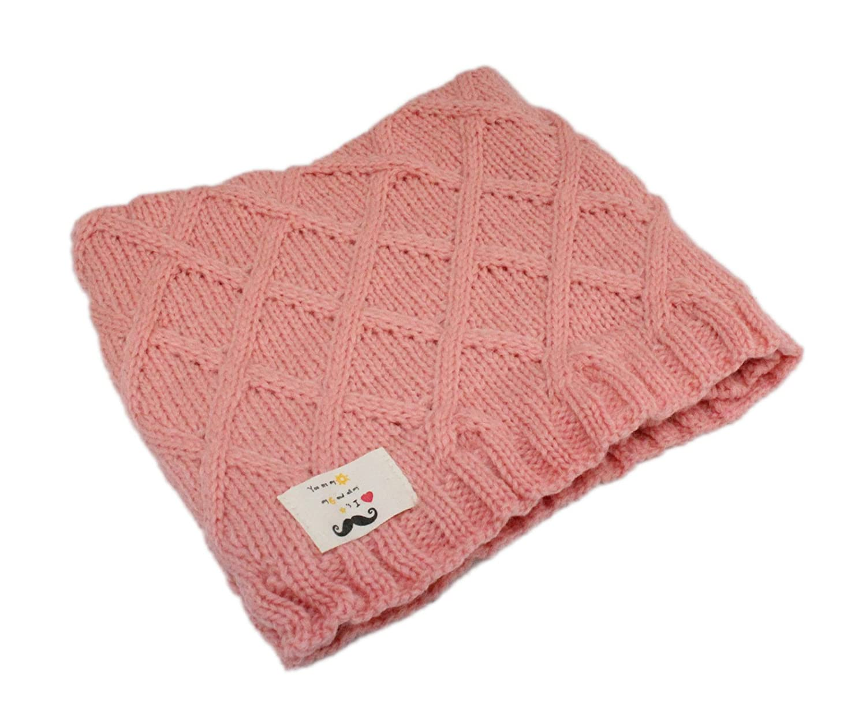 Boys Girls Diamond Knit Patterned Winter Neck Warmer Scarf Age 3-12