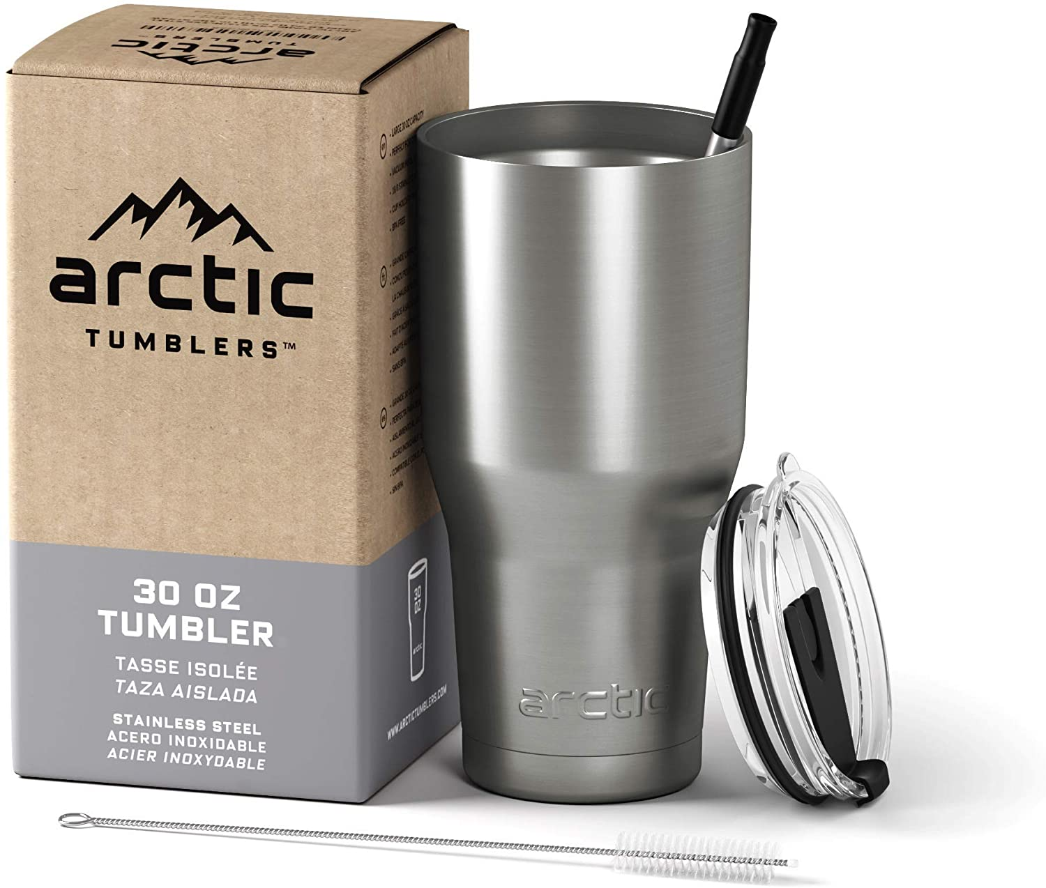 Arctic Tumblers Stainless Steel Camping Travel Tumbler With Splash Proof Lid And Straw Double Wall Vacuum Insulated Premium Insulated Thermos Stainless Steel 30 Oz Tumblers Water Glasses