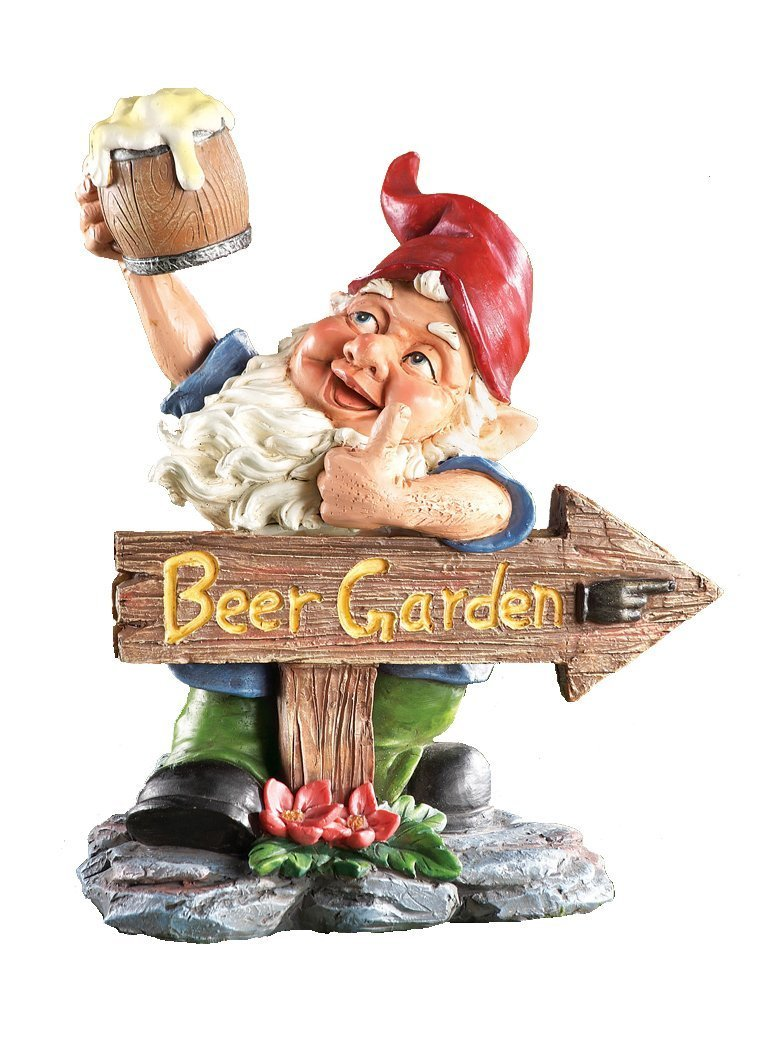 Beer Garden Gnome Lawn Ornament., Hand Painted Resin. 10'' tall. Perfect for Oktoberfest, Walkways, Gardens, Patios, and Beer Festivals